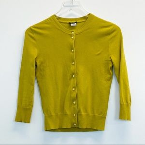 J. Crew Yellow Buttoned Cardigan Extra Small